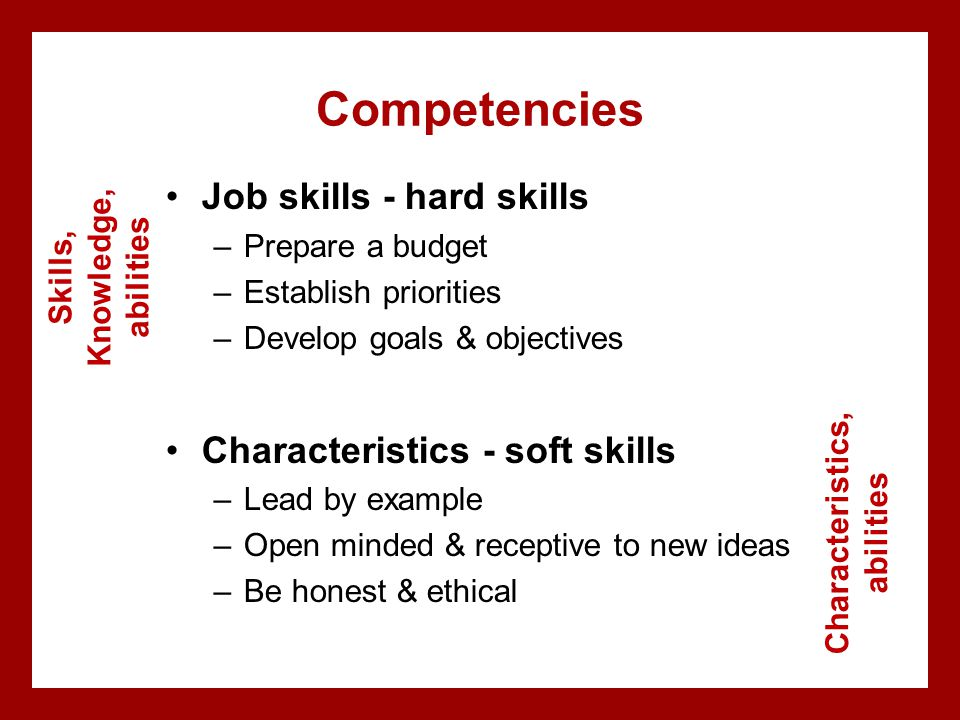 Competencies Job skills - hard skills –Prepare a budget –Establish priorities –Develop goals & objectives Characteristics - soft skills –Lead by example –Open minded & receptive to new ideas –Be honest & ethical Skills, Knowledge, abilities Characteristics, abilities