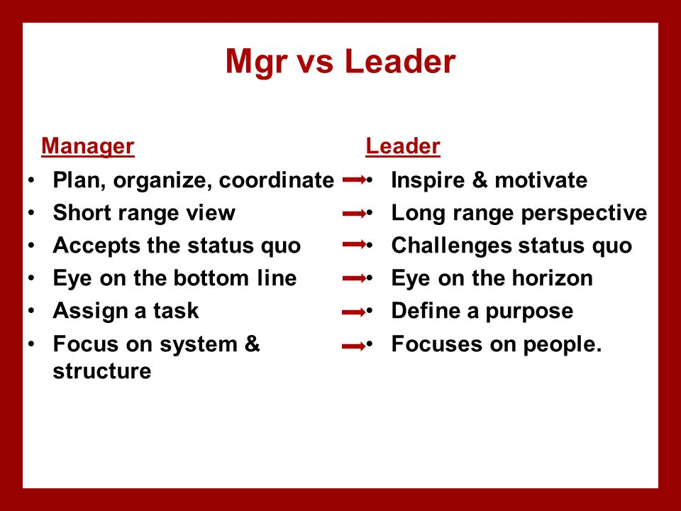 Mgr vs Leader Manager Plan, organize, coordinate Short range view Accepts the status quo Eye on the bottom line Assign a task Focus on system & struct