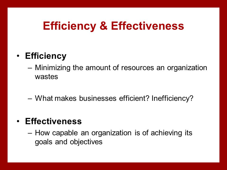 Efficiency & Effectiveness Efficiency –Minimizing the amount of resources an organization wastes –What makes businesses efficient.