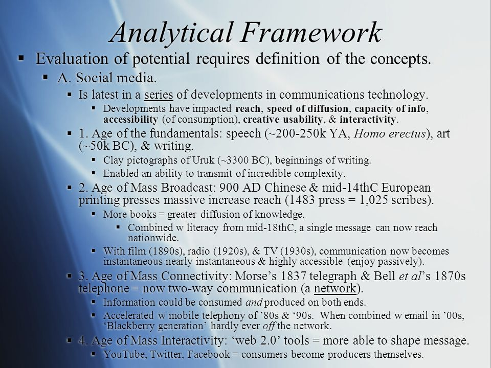 Analytical Framework  Evaluation of potential requires definition of the concepts.