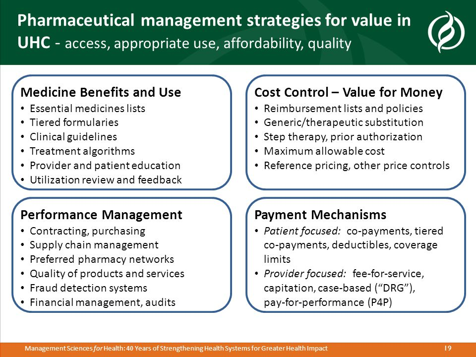 19 Management Sciences for Health: 40 Years of Strengthening Health Systems for Greater Health Impact Pharmaceutical management strategies for value in UHC - access, appropriate use, affordability, quality Payment Mechanisms Patient focused: co-payments, tiered co-payments, deductibles, coverage limits Provider focused: fee-for-service, capitation, case-based ( DRG ), pay-for-performance (P4P) Performance Management Contracting, purchasing Supply chain management Preferred pharmacy networks Quality of products and services Fraud detection systems Financial management, audits Medicine Benefits and Use Essential medicines lists Tiered formularies Clinical guidelines Treatment algorithms Provider and patient education Utilization review and feedback Cost Control – Value for Money Reimbursement lists and policies Generic/therapeutic substitution Step therapy, prior authorization Maximum allowable cost Reference pricing, other price controls