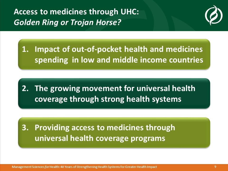 10 Management Sciences for Health: 40 Years of Strengthening Health Systems for Greater Health Impact The UHC movement – Growing buzz around UHC at all levels – country, regional, and global Stated interest in achieving UHC Implementing UHC reforms