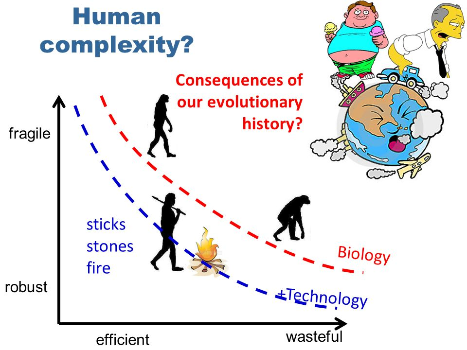Biology sticks stones fire +Technology Human complexity.
