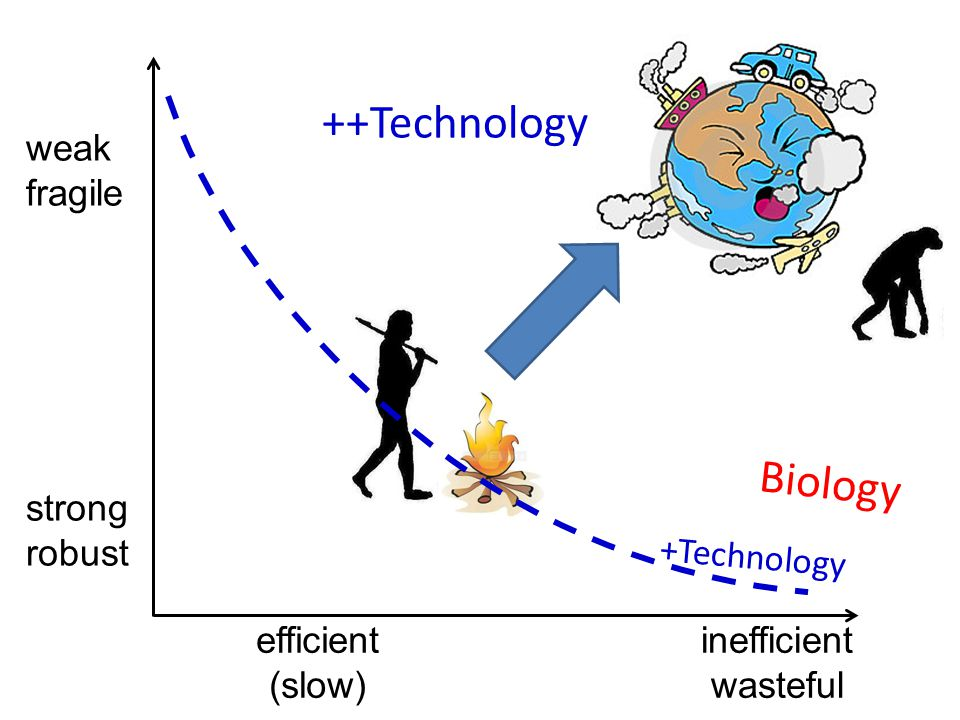 inefficient wasteful weak fragile efficient (slow) strong robust Biology +Technology ++Technology
