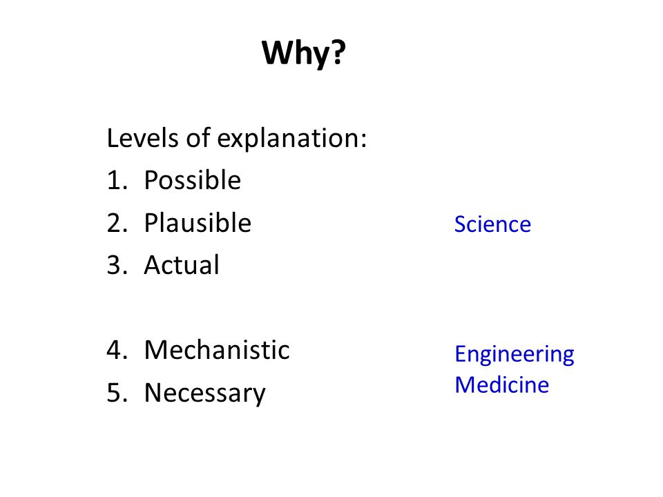 Levels of explanation: 1.Possible 2.Plausible 3.Actual 4.Mechanistic 5.Necessary Science Engineering Medicine