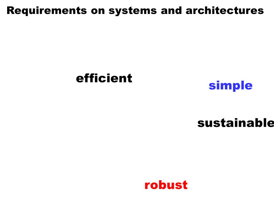 Requirements on systems and architectures efficient robust sustainable simple