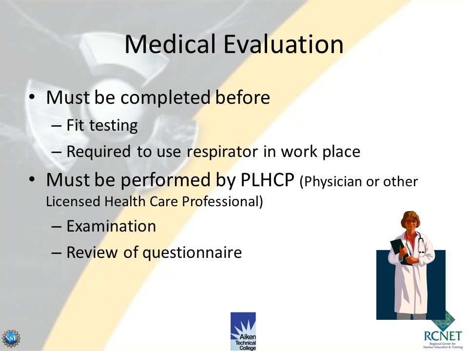 Test exercises – Talking – Grimace (15 sec) – Bending over – Normal breathing Fit Testing 29 CFR 1910.134, App A (OSHA) – (cont'd) http://img.directin
