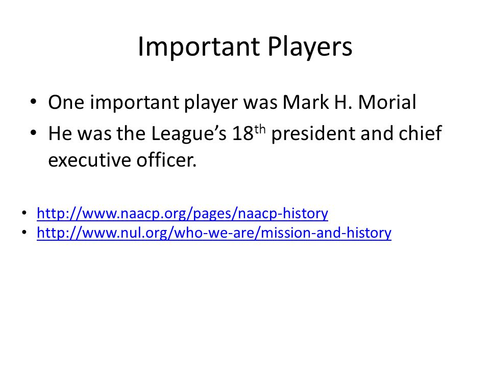 Important Players One important player was Mark H.