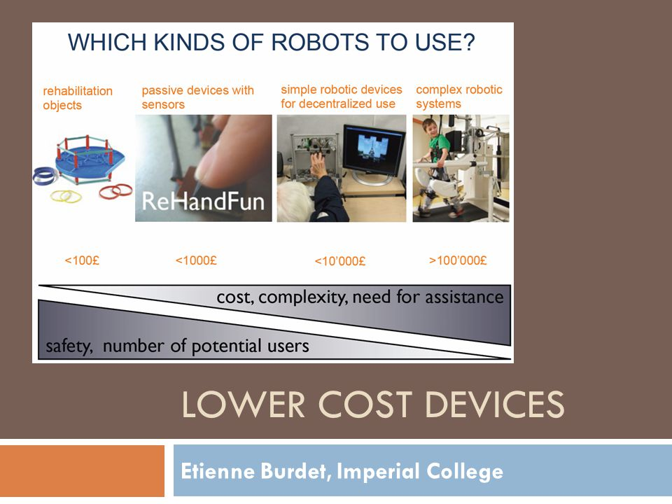 Etienne Burdet, Imperial College LOWER COST DEVICES