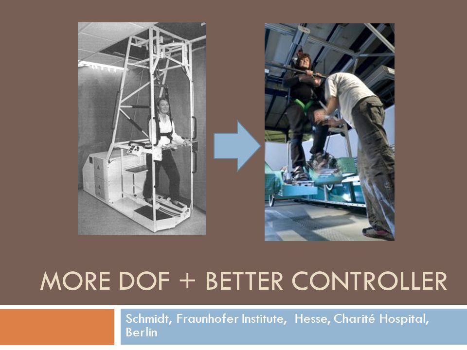 Schmidt, Fraunhofer Institute, Hesse, Charité Hospital, Berlin MORE DOF + BETTER CONTROLLER