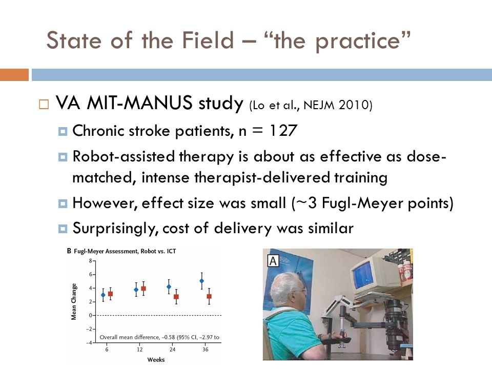 State of the Field – the practice  VA MIT-MANUS study (Lo et al., NEJM 2010)  Chronic stroke patients, n = 127  Robot-assisted therapy is about as effective as dose- matched, intense therapist-delivered training  However, effect size was small (~3 Fugl-Meyer points)  Surprisingly, cost of delivery was similar