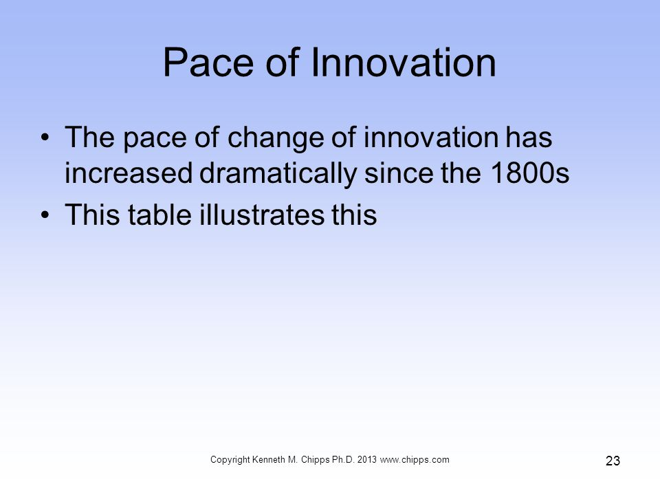Pace of Innovation The pace of change of innovation has increased dramatically since the 1800s This table illustrates this Copyright Kenneth M.