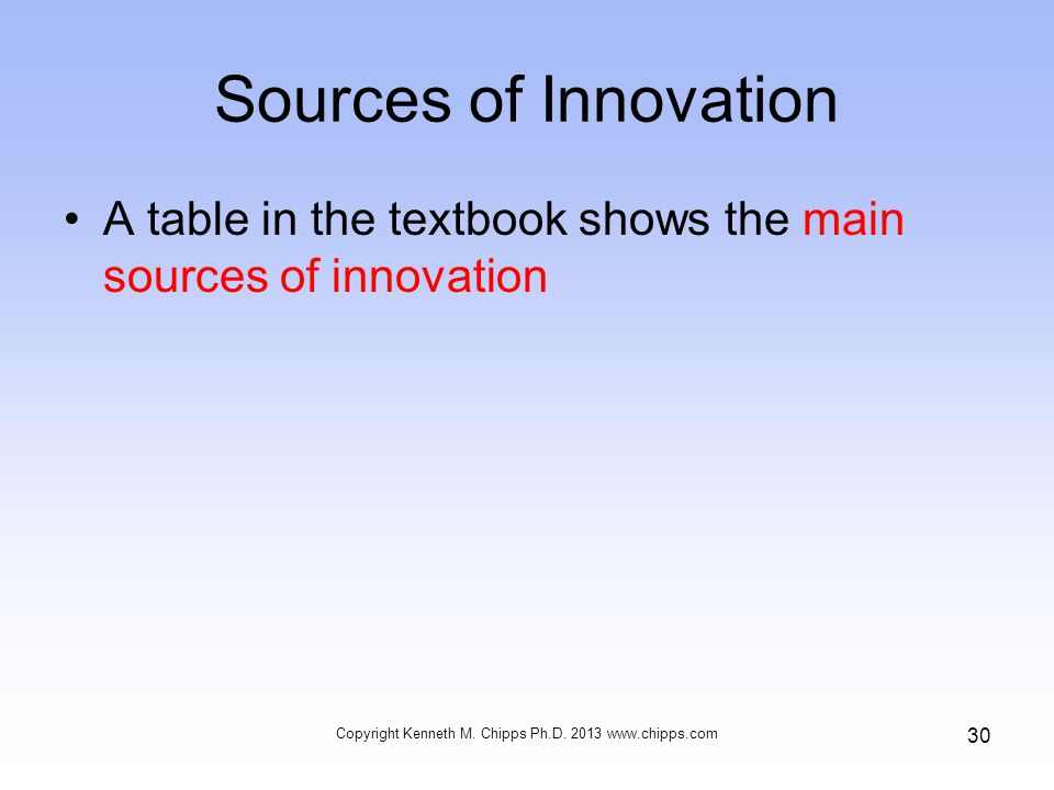 Sources of Innovation A table in the textbook shows the main sources of innovation Copyright Kenneth M.