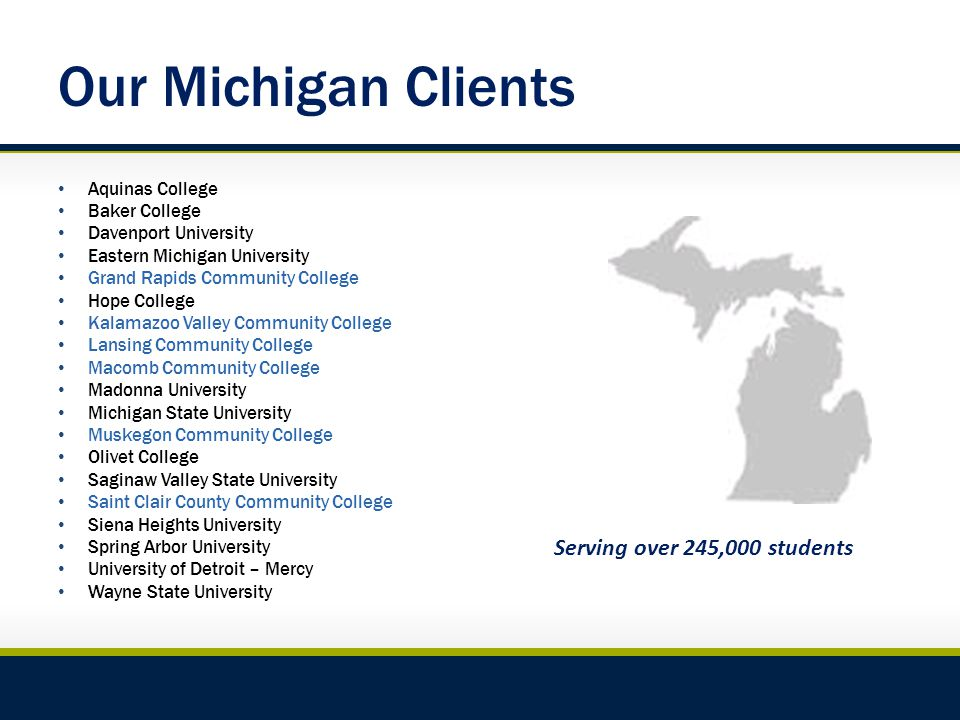 Our Michigan Clients Aquinas College Baker College Davenport University Eastern Michigan University Grand Rapids Community College Hope College Kalamazoo Valley Community College Lansing Community College Macomb Community College Madonna University Michigan State University Muskegon Community College Olivet College Saginaw Valley State University Saint Clair County Community College Siena Heights University Spring Arbor University University of Detroit – Mercy Wayne State University Serving over 245,000 students