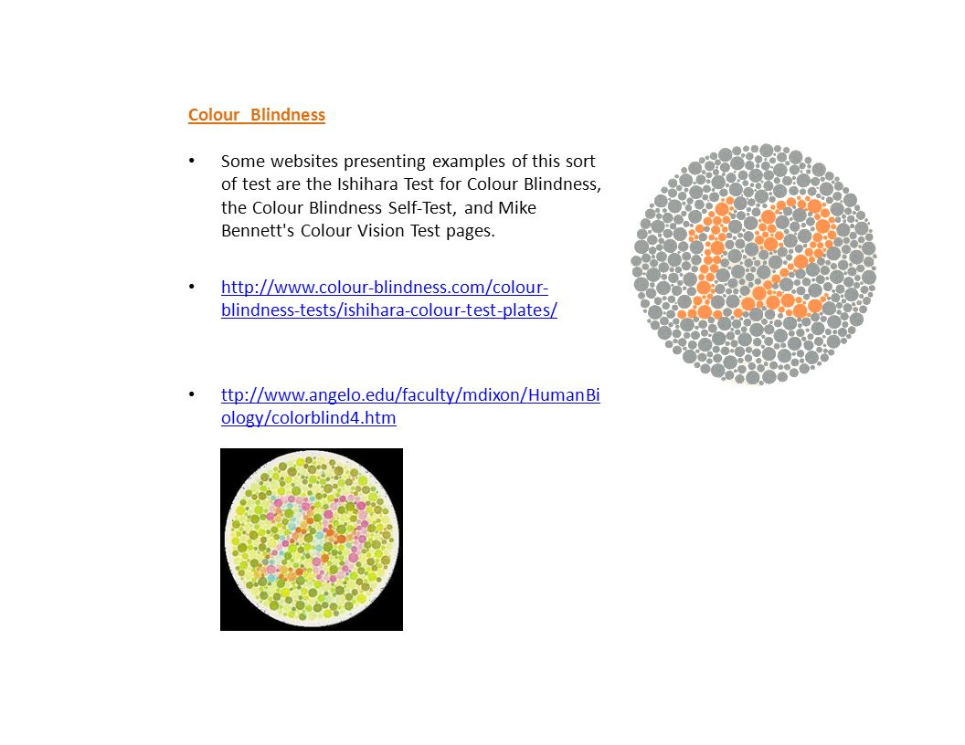 Colour Blindness Some websites presenting examples of this sort of test are the Ishihara Test for Colour Blindness, the Colour Blindness Self-Test, an