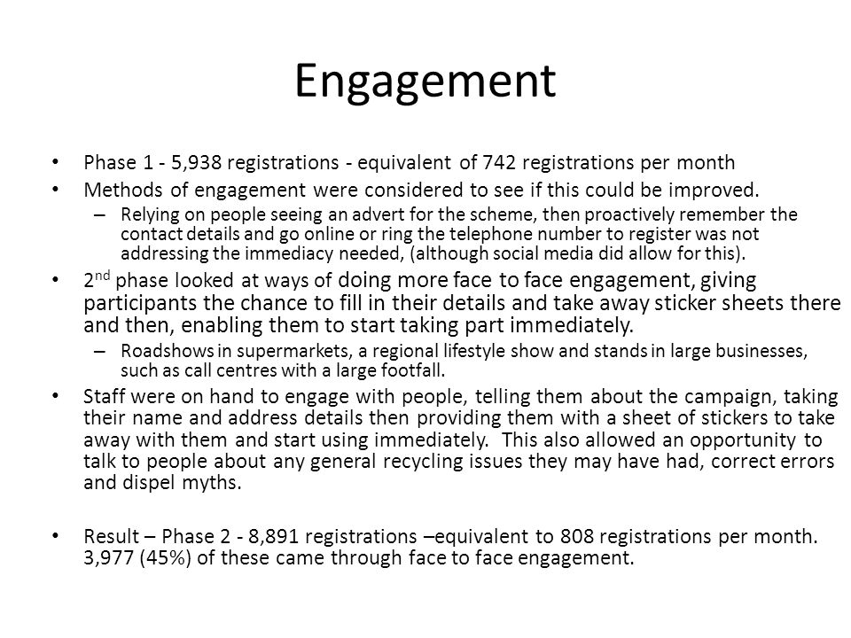 Engagement Phase 1 - 5,938 registrations - equivalent of 742 registrations per month Methods of engagement were considered to see if this could be improved.