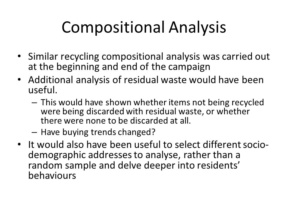 Compositional Analysis Similar recycling compositional analysis was carried out at the beginning and end of the campaign Additional analysis of residual waste would have been useful.