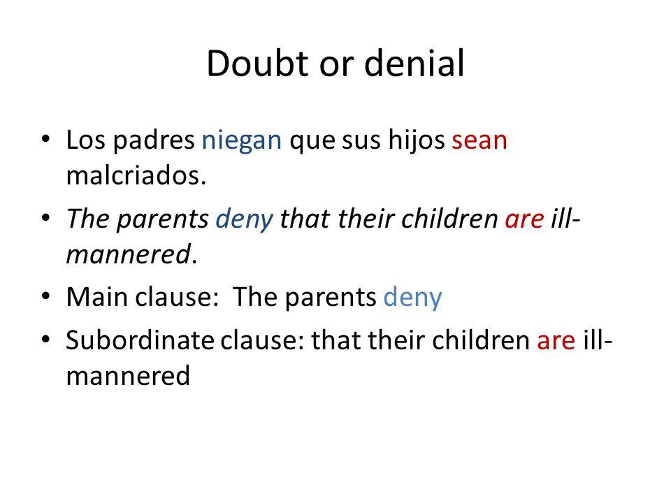 Doubt or denial Los padres niegan que sus hijos sean malcriados.