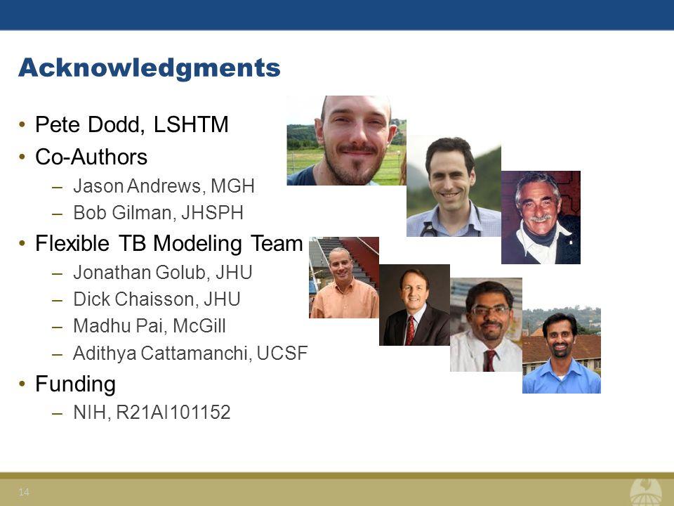 Acknowledgments Pete Dodd, LSHTM Co-Authors –Jason Andrews, MGH –Bob Gilman, JHSPH Flexible TB Modeling Team –Jonathan Golub, JHU –Dick Chaisson, JHU –Madhu Pai, McGill –Adithya Cattamanchi, UCSF Funding –NIH, R21AI101152 14