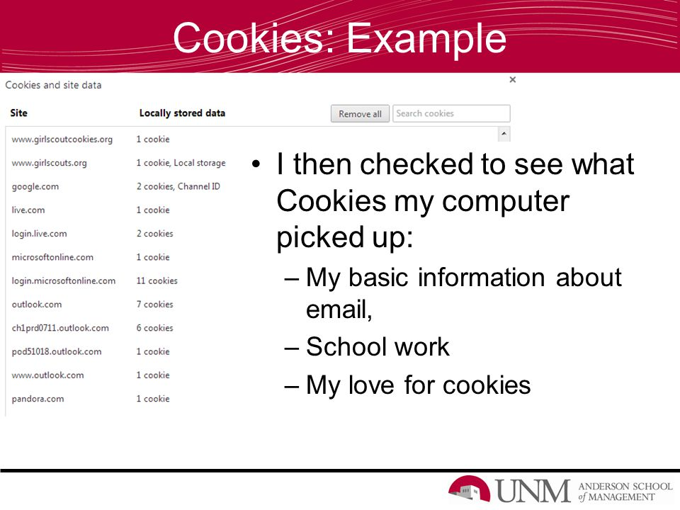 Cookies: Example I then checked to see what Cookies my computer picked up: –My basic information about email, –School work –My love for cookies