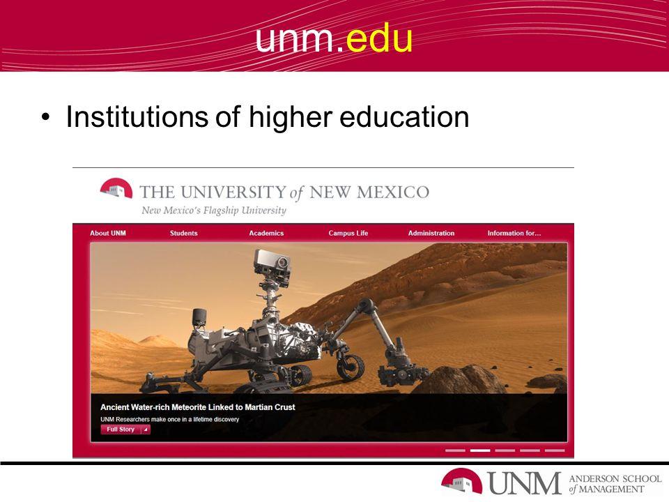 unm.edu Institutions of higher education