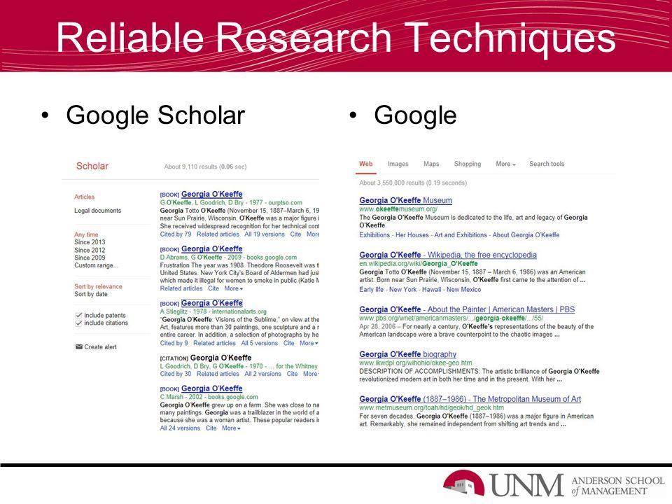 Reliable Research Techniques Google ScholarGoogle