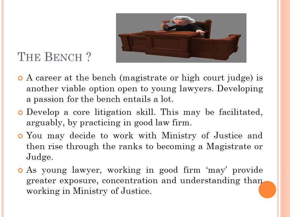 T HE B ENCH ? A career at the bench (magistrate or high court judge) is another viable option open to young lawyers. Developing a passion for the benc
