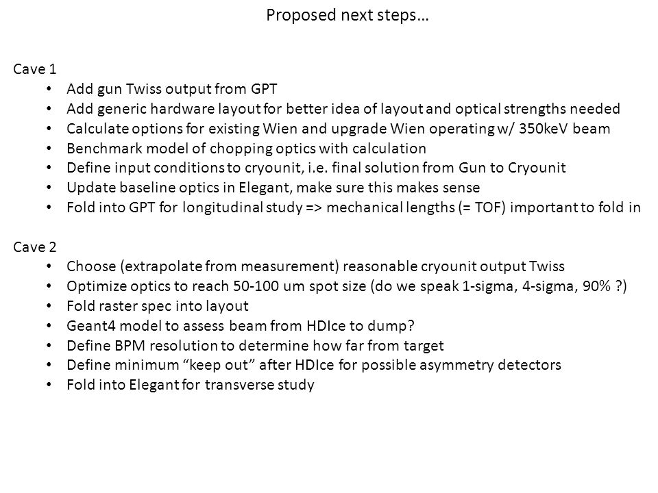 Cave 1 Add gun Twiss output from GPT Add generic hardware layout for better idea of layout and optical strengths needed Calculate options for existing
