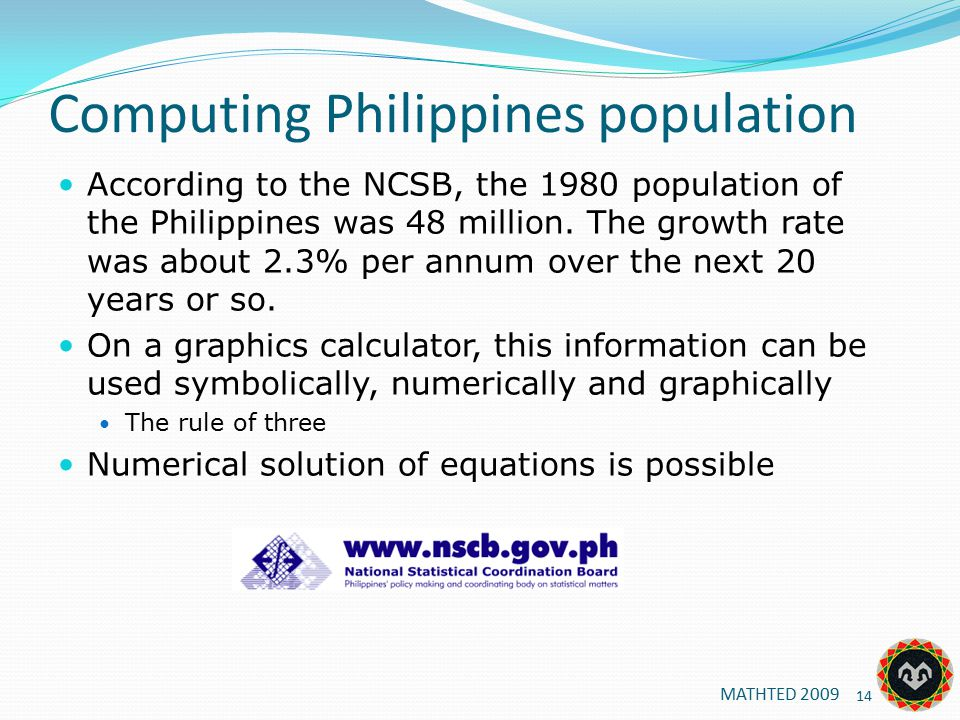 Computing Philippines population According to the NCSB, the 1980 population of the Philippines was 48 million.