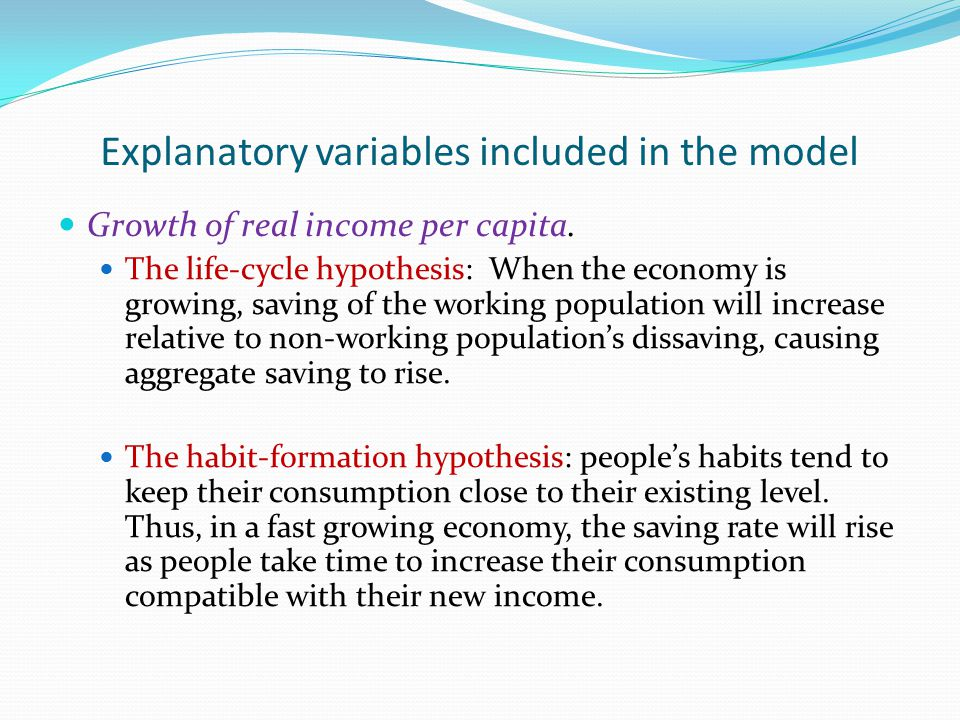 Explanatory variables included in the model Growth of real income per capita.