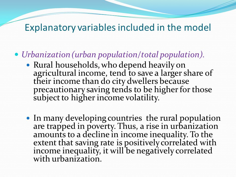 Explanatory variables included in the model Urbanization (urban population/total population).