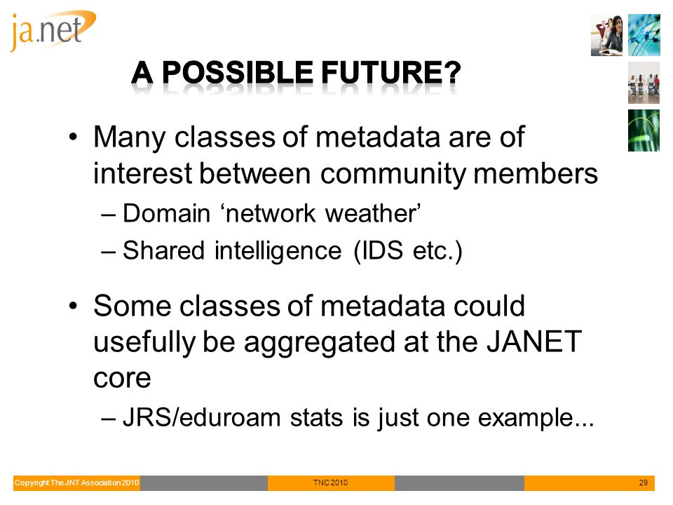 Copyright The JNT Association 2010TNC 201029 Many classes of metadata are of interest between community members –Domain 'network weather' –Shared intelligence (IDS etc.) Some classes of metadata could usefully be aggregated at the JANET core –JRS/eduroam stats is just one example...