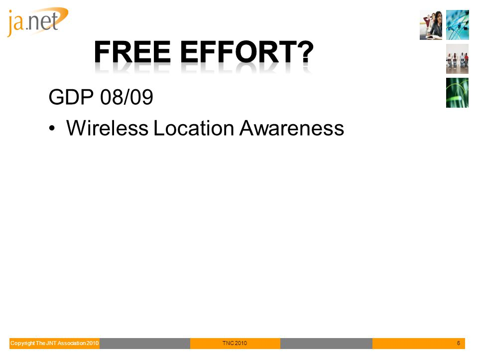 Copyright The JNT Association 2010TNC 20106 GDP 08/09 Wireless Location Awareness