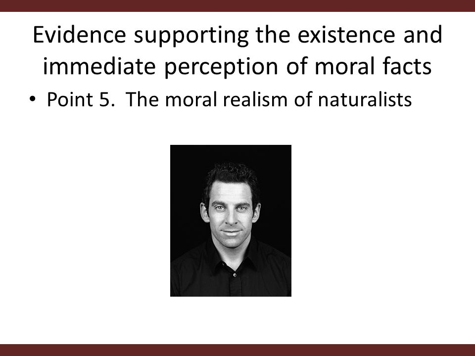 Evidence supporting the existence and immediate perception of moral facts Point 5.