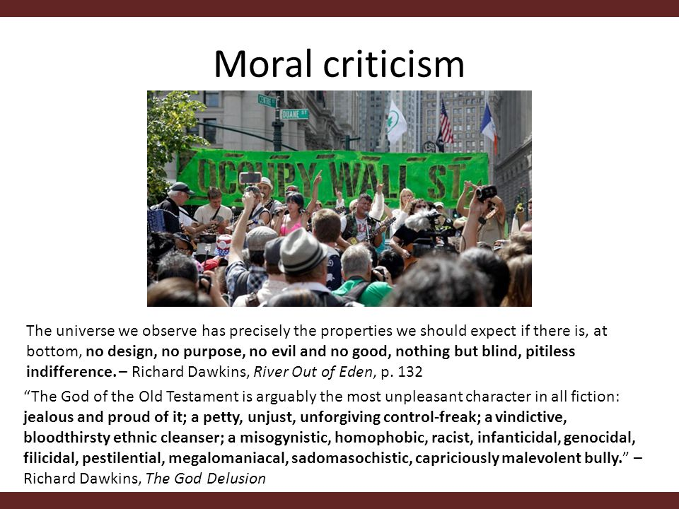 Moral criticism The universe we observe has precisely the properties we should expect if there is, at bottom, no design, no purpose, no evil and no good, nothing but blind, pitiless indifference.