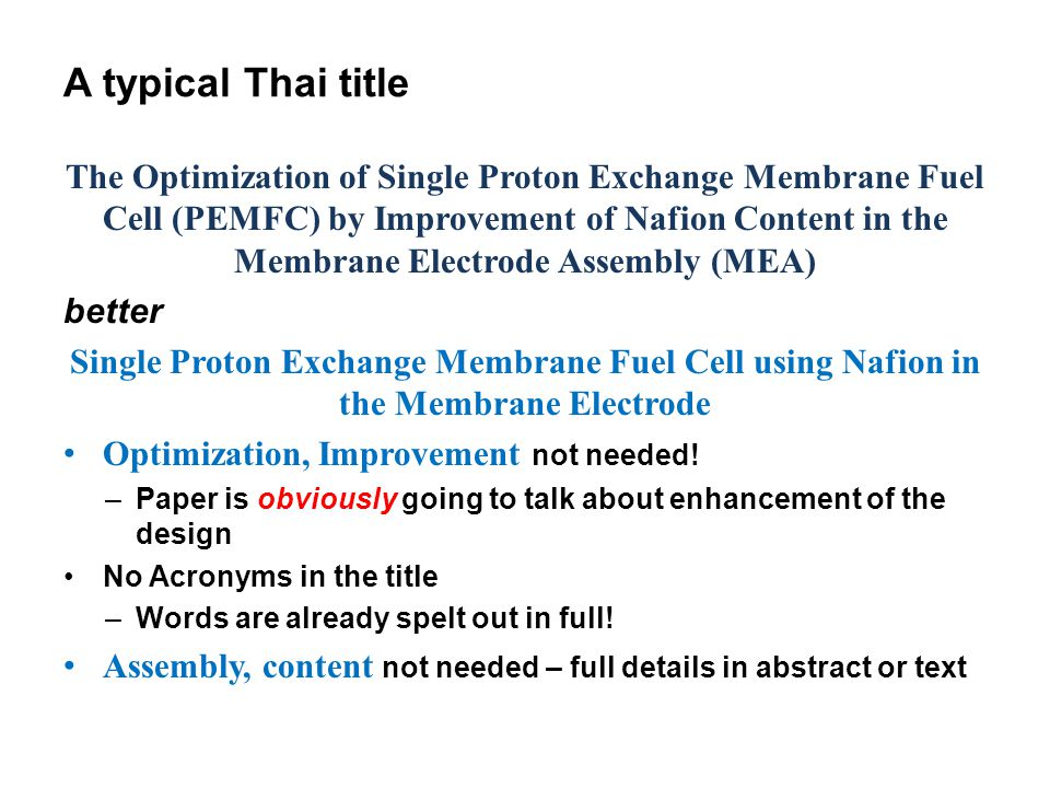 A typical Thai title The Optimization of Single Proton Exchange Membrane Fuel Cell (PEMFC) by Improvement of Nafion Content in the Membrane Electrode