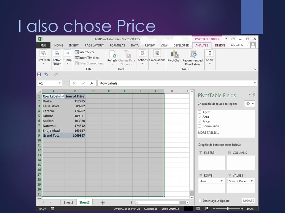 I also chose Price Excel totaled the sales for each neighborhood