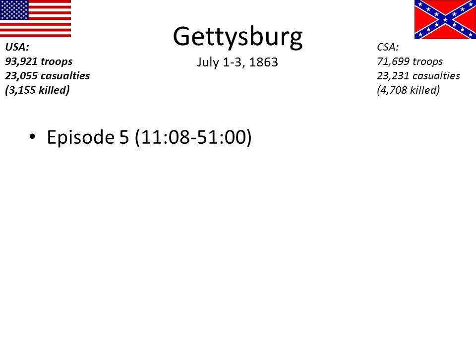 Gettysburg July 1-3, 1863 Episode 5 (11:08-51:00) USA: 93,921 troops 23,055 casualties (3,155 killed) CSA: 71,699 troops 23,231 casualties (4,708 kill