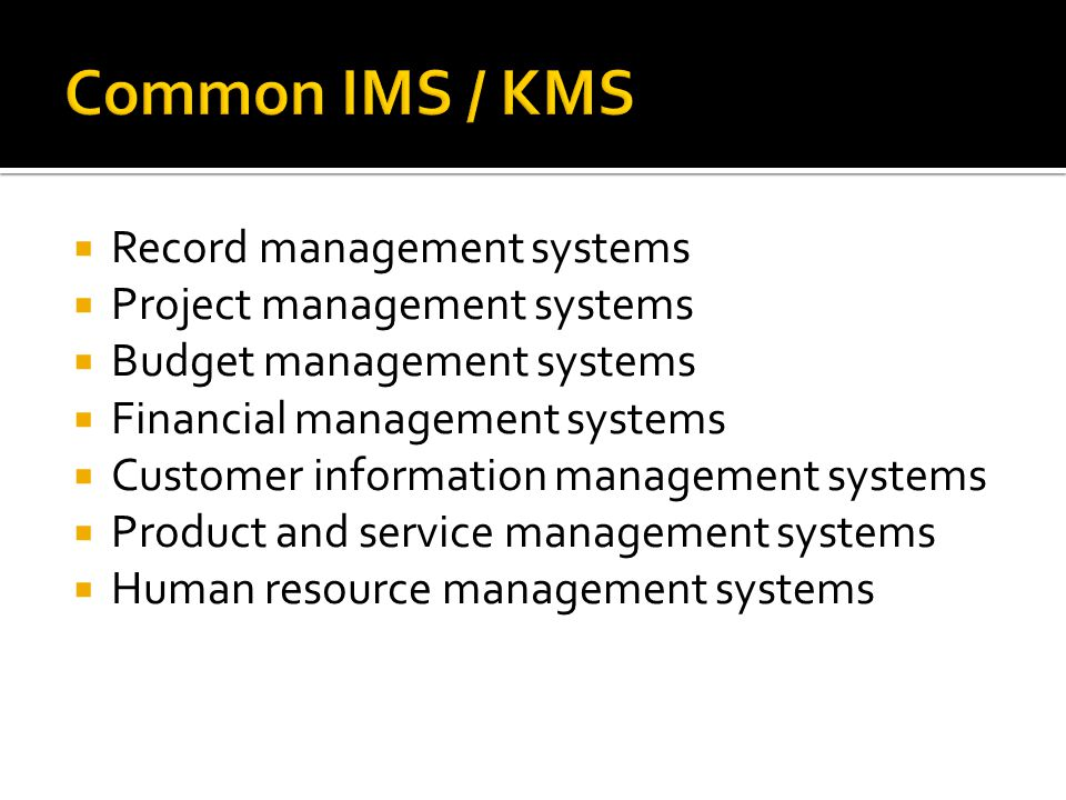  Record management systems  Project management systems  Budget management systems  Financial management systems  Customer information management