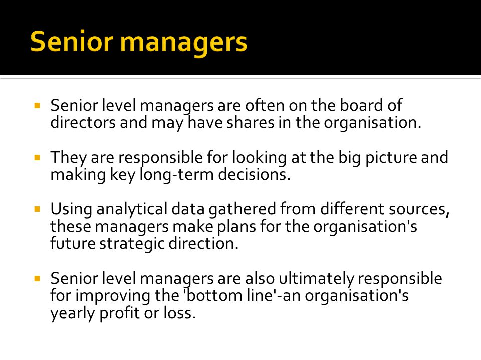  Senior level managers are often on the board of directors and may have shares in the organisation.