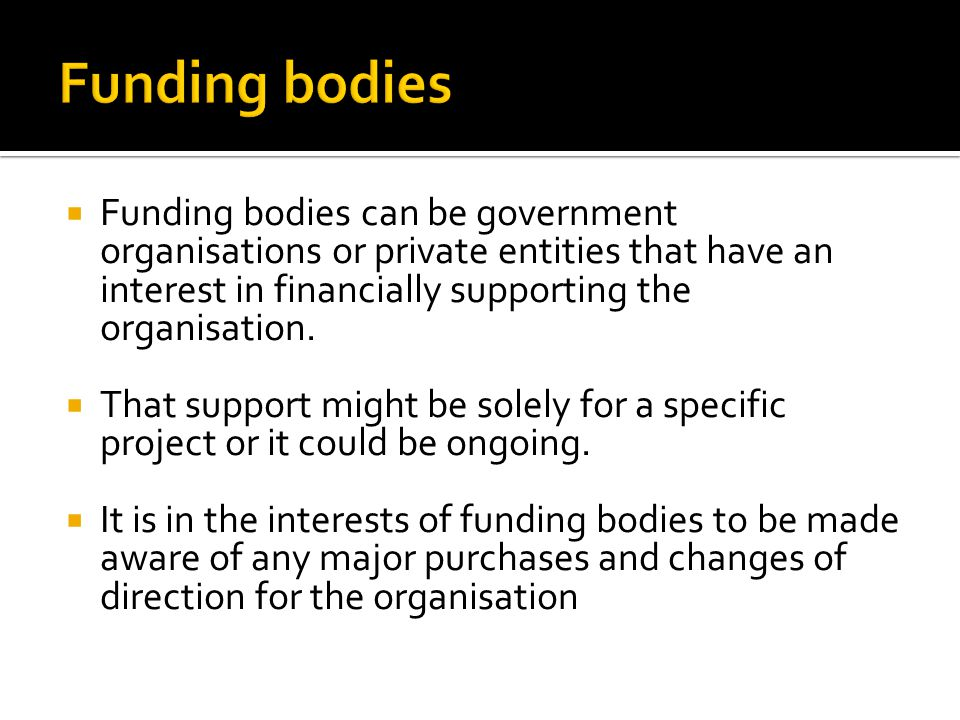  Funding bodies can be government organisations or private entities that have an interest in financially supporting the organisation.