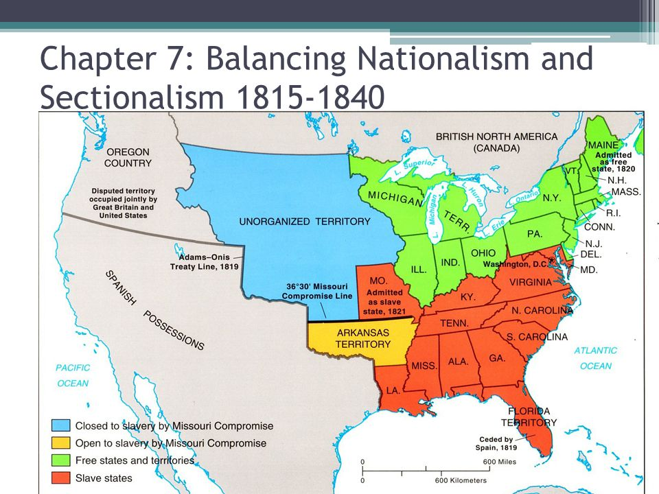 Chapter 7: Balancing Nationalism and Sectionalism 1815-1840