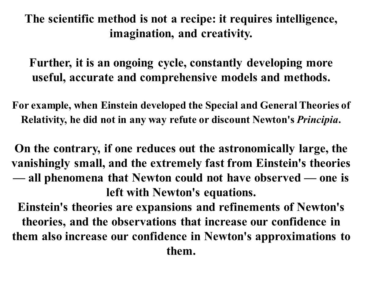 The scientific method is not a recipe: it requires intelligence, imagination, and creativity. Further, it is an ongoing cycle, constantly developing m