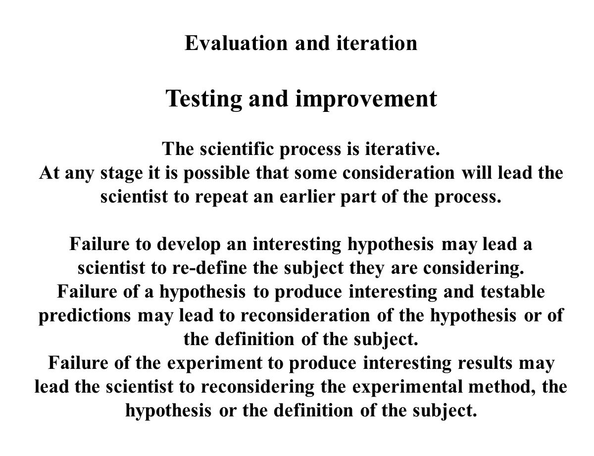 Evaluation and iteration Testing and improvement The scientific process is iterative.