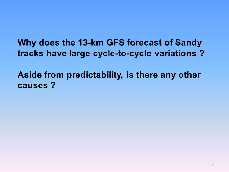 24 Why does the 13-km GFS forecast of Sandy tracks have large cycle-to-cycle variations .