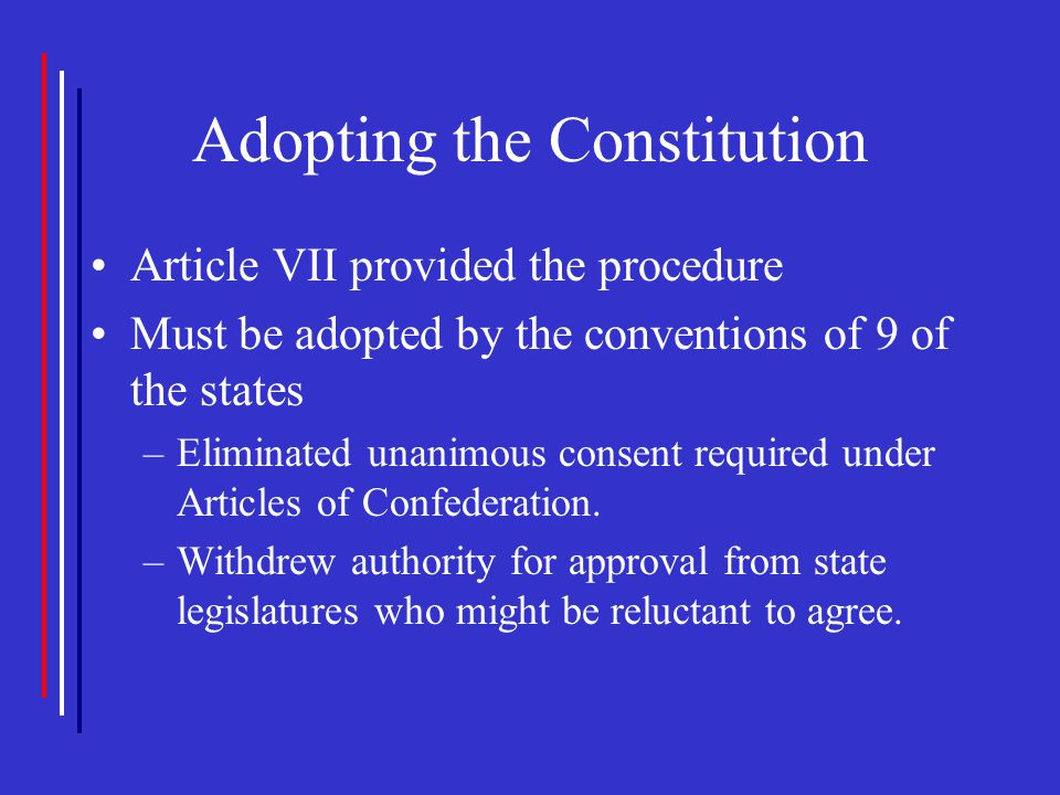 Adopting the Constitution Article VII provided the procedure Must be adopted by the conventions of 9 of the states –Eliminated unanimous consent requi