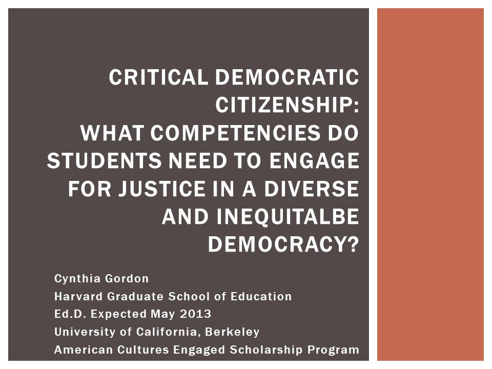  Postsecondary student learning outcomes for civic-engagement can include knowledge, skills, dispositions, attitudes, commitments, motivations, and actions that prepare students for engagement in a diverse democracy (Brammer et al., 2012; Gurin, Dey, Hurtado, & Gurin, 2002; Stokamer, 2011).Brammer et al., 2012 Gurin, Dey, Hurtado, & Gurin, 2002Stokamer, 2011  A recent literature review conducted by the Center for an Engaged Democracy (Brammer et al., 2012), researchers found more than 50 (!) areas of civic knowledge, skills, practice, and inclinations currently being measured by various civic postsecondary programs and national organizations.Brammer et al., 2012  Colleges and universities faced with challenge: determining which of these many learning outcomes are most appropriate given their context and missions.