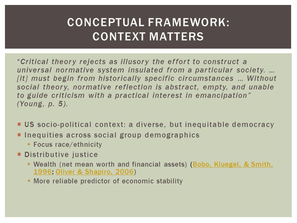  US socio-political context: a diverse, but inequitable democracy  Capabilities approach to justice  Health (Bloom & Cohen, 2011)Bloom & Cohen, 2011  Education (Diamond, 2008; Ferguson & Mehta, 2004; Gandara & Maxwell-Jolly, 2000; Kozol, 2005; Orfield & Lee, 2005a)Diamond, 2008Ferguson & Mehta, 2004Gandara & Maxwell-Jolly, 2000Kozol, 2005Orfield & Lee, 2005a CONCEPTUAL FRAMEWORK: CONTEXT MATTERS