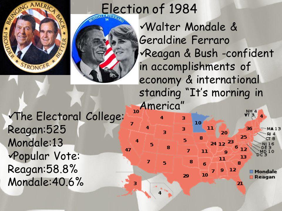 Election of 1984 The Electoral College: Reagan:525 Mondale:13 Popular Vote: Reagan:58.8% Mondale:40.6% Walter Mondale & Geraldine Ferraro Reagan & Bush -confident in accomplishments of economy & international standing It's morning in America