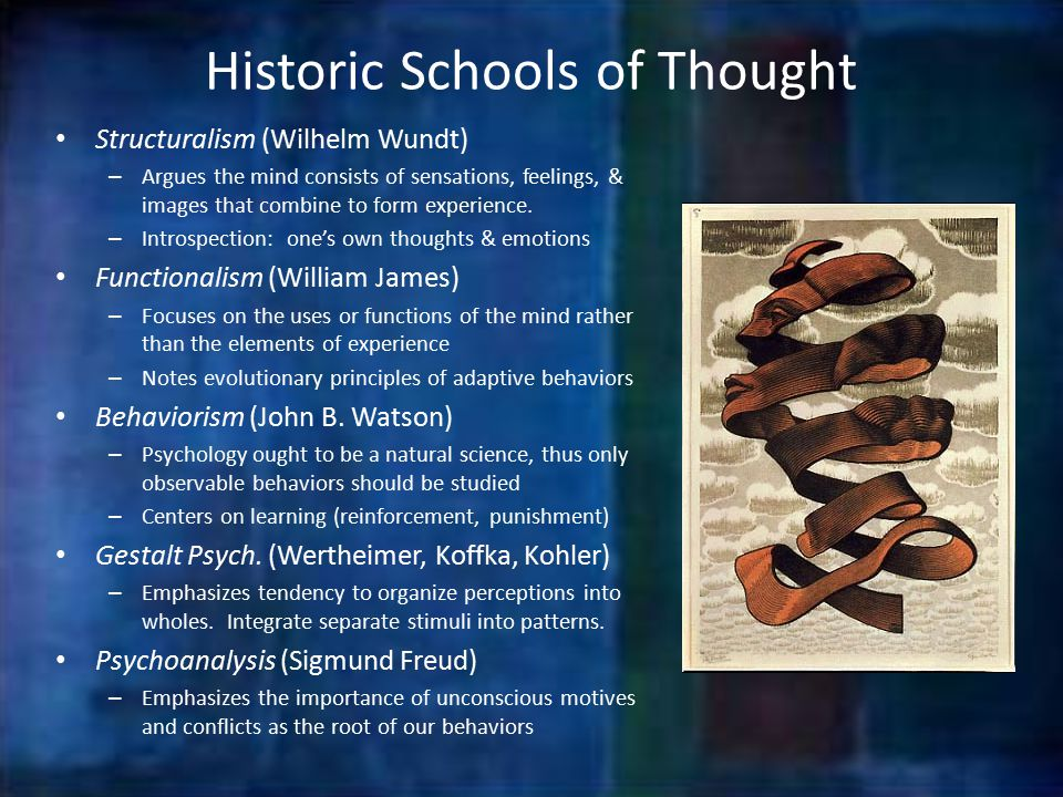Historic Schools of Thought Structuralism (Wilhelm Wundt) – Argues the mind consists of sensations, feelings, & images that combine to form experience.